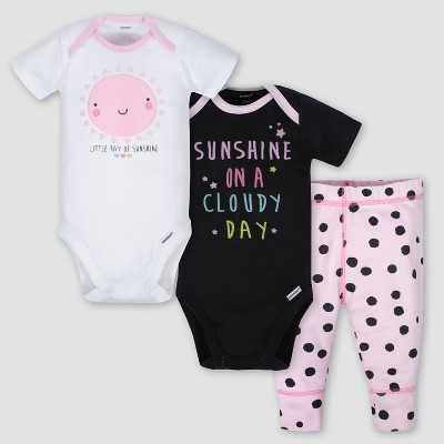 Gerber Baby Girls' 3pc Sunshine Onesies Bodysuit and Pant Set - Dark Gray/White/Pink 6-9M