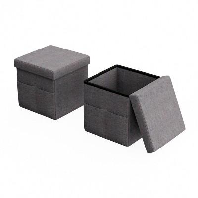 Foldable Storage Cube Ottoman with Pockets - Lavish Home