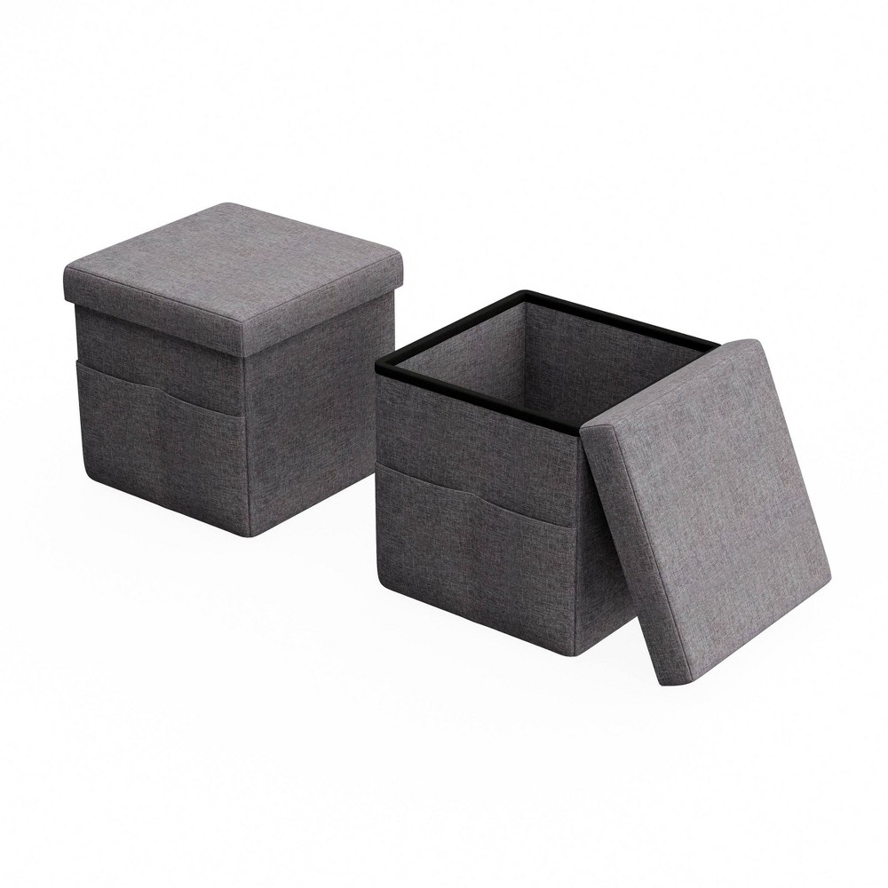 Image of Foldable Storage Cube Ottoman with Pockets Charcoal Gray - Yorkshire Home