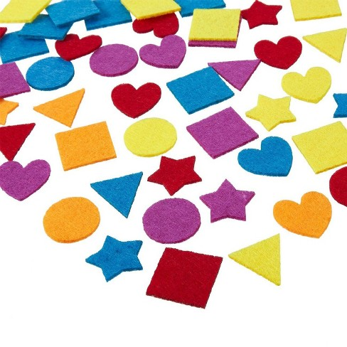 Juvale Felt Embellishments - 1000-Pack Felt Shapes, Heart, Star, and Geometric Design, Felt Ornaments for Craft Projects, Assorted Colors - image 1 of 3