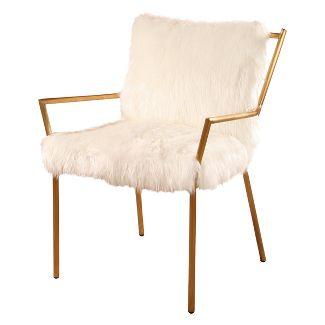 Bonnie Stainless Steel Faux Fur Armchair - White - Abbyson