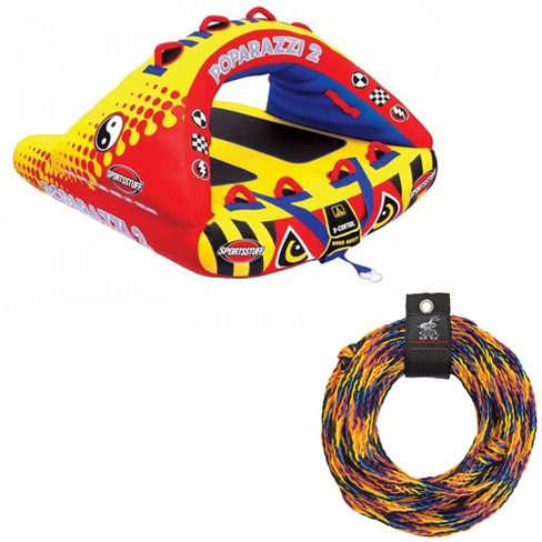 Airhead Poparazzi 2 Double Rider Wing-Shaped Towable Tube w/ 60-Foot Tow Rope - image 1 of 4