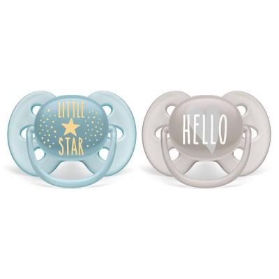 Philips Avent 2pk Ultra Soft Pacifier 6-18 Months - Little Star/Hello Designs