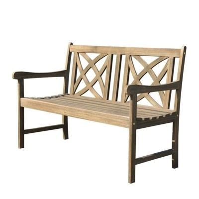 Wood Outdoor Bench in Natural Brown-Pemberly Row