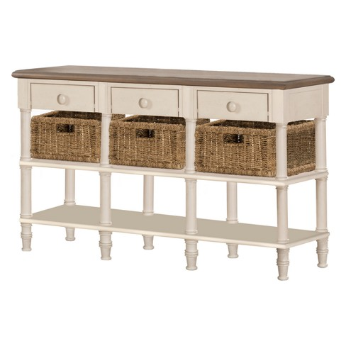 Seneca Sofa Table With Three Drawers Baskets Included Wood Driftwood Top Sea White Base Natural Seagr Hilale Furniture