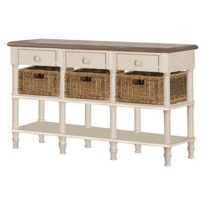 Seneca Sofa Table With Three Drawers Three Baskets Included Wood Driftwood  Top/Sea White Base/Natural Seagrass   Hillsdale Furniture