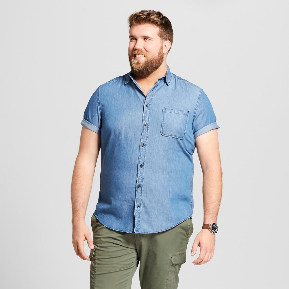 Men's Big & Tall Standard Fit Denim Short Sleeve Button-Down Shirt - Goodfellow & Co Bayshore Blue 3XB