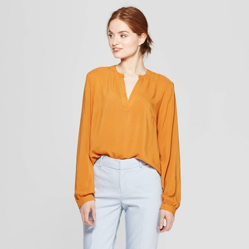 dca242bd5ca3f7 Women s Long Sleeve Popover Blouse - A New Day™ Rust   Target