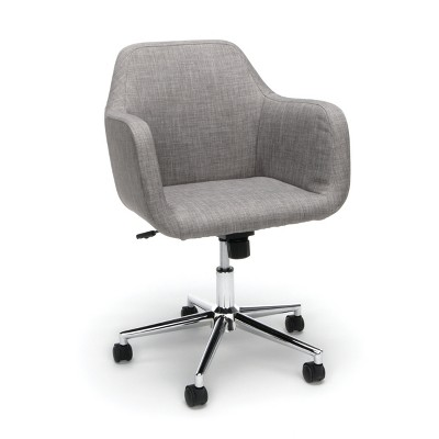Upholstered Adjustable Home Office Chair with Wheels Gray - OFM