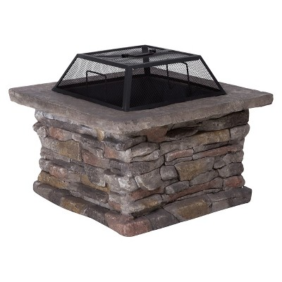 Corporal 29  Cement Wood Burning Fire Pit - Square - Stone - Christopher Knight Home