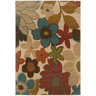 """5'X7'6"""" Erica Bold Floral Rug Ivory/Gold"""