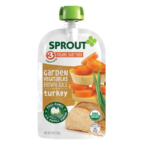Sprout Baby Food Pouch 4.5oz Garden Vegetables & Brown Rice with Turkey - image 1 of 3