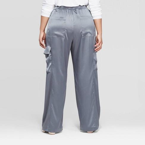 253059f7788 Women s Plus Size Mid-Rise Wide Leg Satin Cargo Pants - Prologue™ Blue