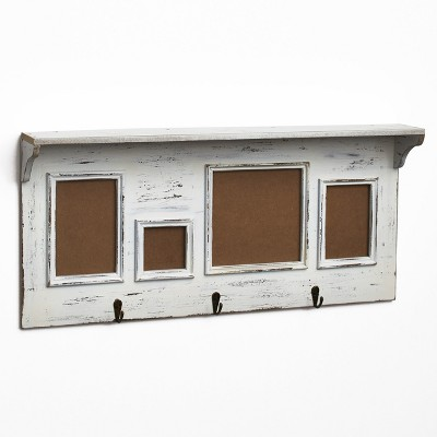Lakeside Distressed Floating Wall Shelf with Photo Frames - Vintage Home Accent