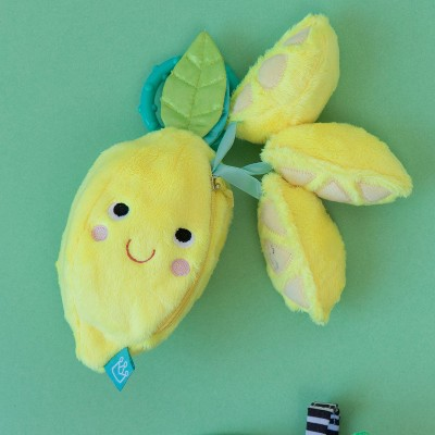 Manhattan Toy Mini-Apple Farm Lemon Baby Travel Toy with Rattle, Squeaker, Crinkle Fabric & Teether Clip-on Attachment