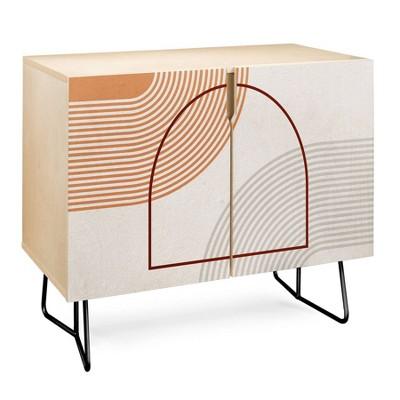 Iveta Abolina Mid-Century Modern Line Art IV Credenza - Deny Designs