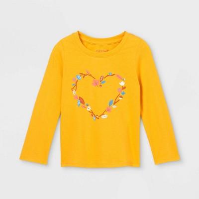 Toddler Girls' Floral Heart Long Sleeve Graphic T-Shirt - Cat & Jack™ Mustard