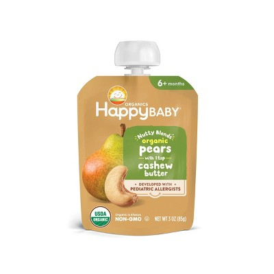 HappyBaby Nutty Blends Organic Pears & Cashew Butter Baby Food Pouch - 3oz