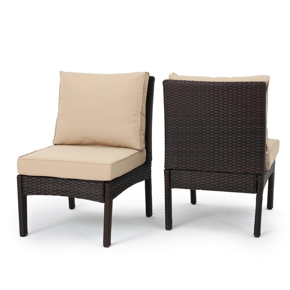 Honolulu 2pk Wicker Armless Club Chair - Brown - Christopher Knight Home