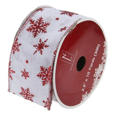 """Northlight Club Pack of 12 White and Red Snowflakes Burlap Wired Christmas Craft Ribbon Spools - 2.5"""" x 12 Yards"""