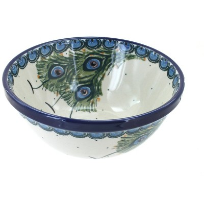 Blue Rose Polish Pottery Peacock Feather Cereal/Soup Bowl