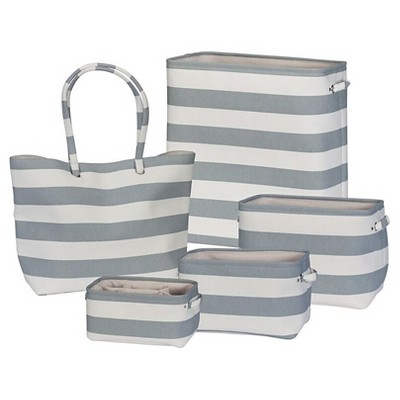5pc Soft Side Striped Storage Set White/Gray - Creative Bath