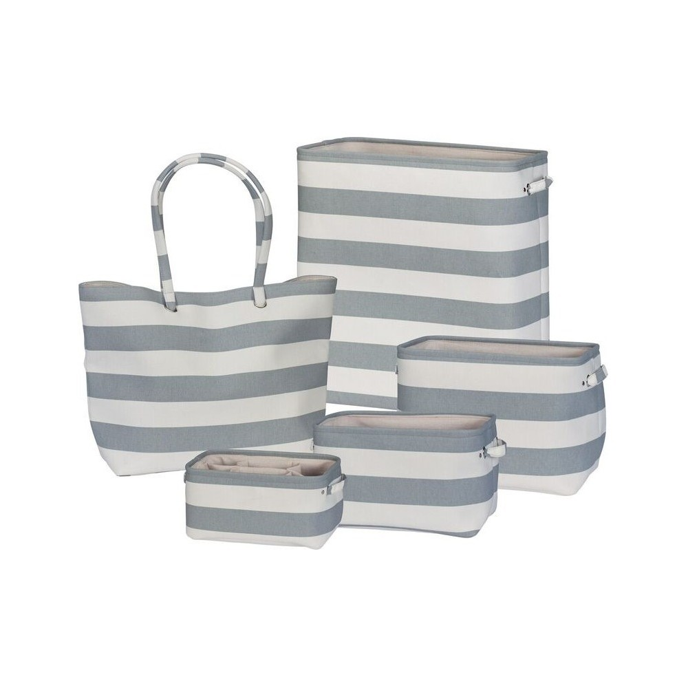 Soft Side Stripe 5pc Set White/Gray - Creative Bath