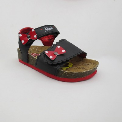 Toddler Girls' Disney Mickey Mouse & Friends Minnie Mouse Footbed Sandals - Black 6