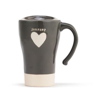 DEMDACO Journey Heart Travel Mug Gray