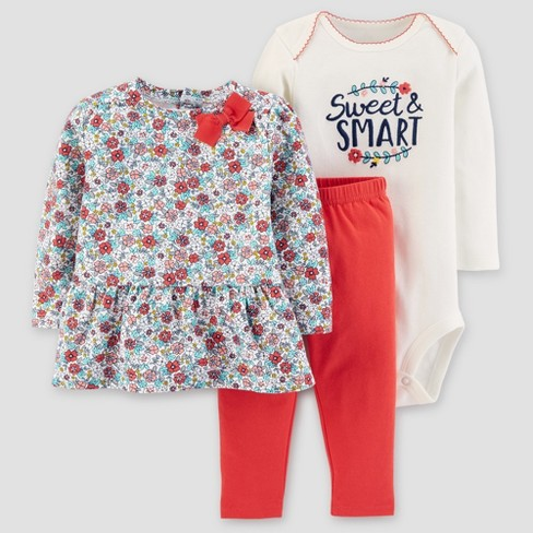 Baby Girls' 3pc Cotton Floral Sweet and Smart Set - Just One You® made by carter's Red - image 1 of 1