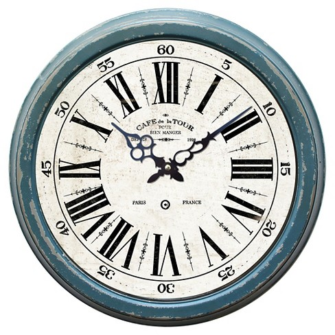 "16¼"" Round Wall Clock Distressed Blue - Yosemite Home Decor® - image 1 of 1"