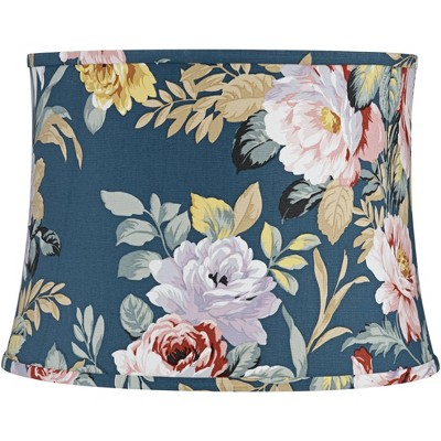"""Springcrest Blue with Rose Print Medium Drum Lamp Shade 14"""" Top x 16"""" Bottom x 11.5"""" High (Spider) Replacement with Harp and Finial"""