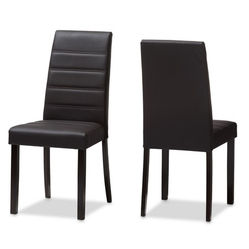 Set of 2 Lorelle Modern and Contemporary Faux Leather Upholstered Dining Chairs Dark Brown - Baxton Studio - image 1 of 4