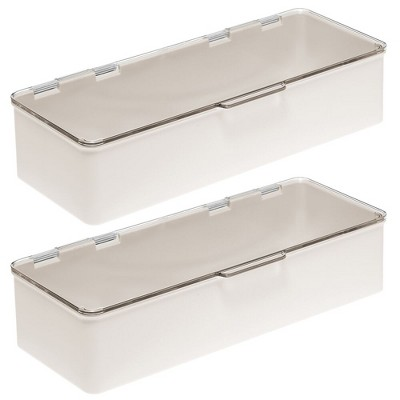 mDesign Long Plastic Stackable Home, Office Supplies Storage Organizer Box with Attached Hinged Lid, 2 Pack