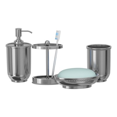 4pc Chic Metal Bath Accessory Set for Vanity Counter Tops Silver - Nu Steel
