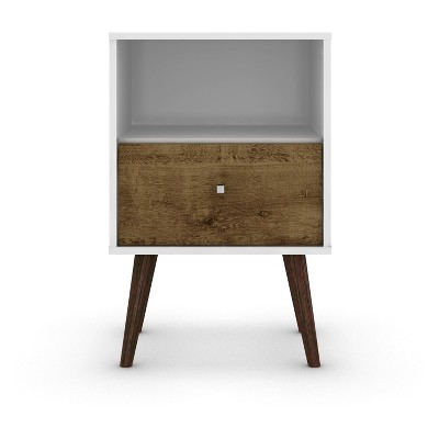Liberty 1.0 Mid Century Modern Nightstand White/Rustic Brown - Manhattan Comfort