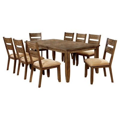 IoHomes 9pc Country Dining Set   Light Oak