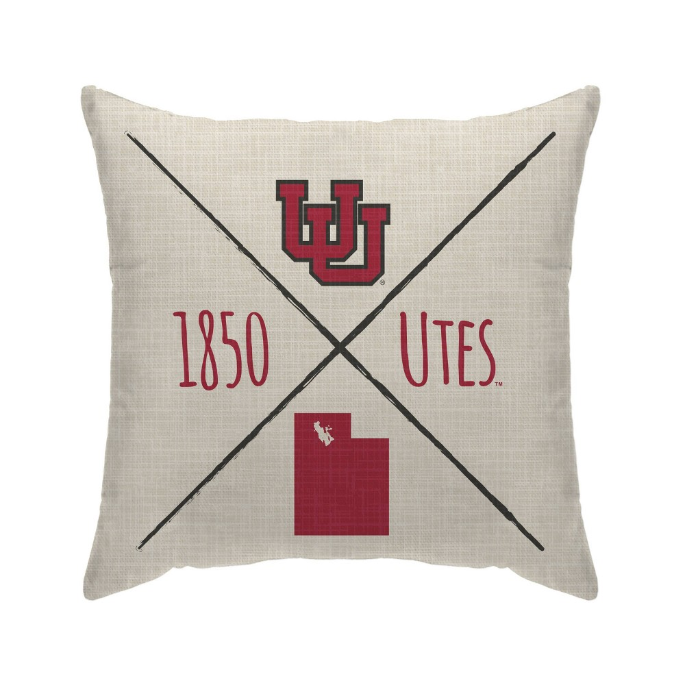 Ncaa Utah Utes Cross Arrow Decorative Throw Pillow