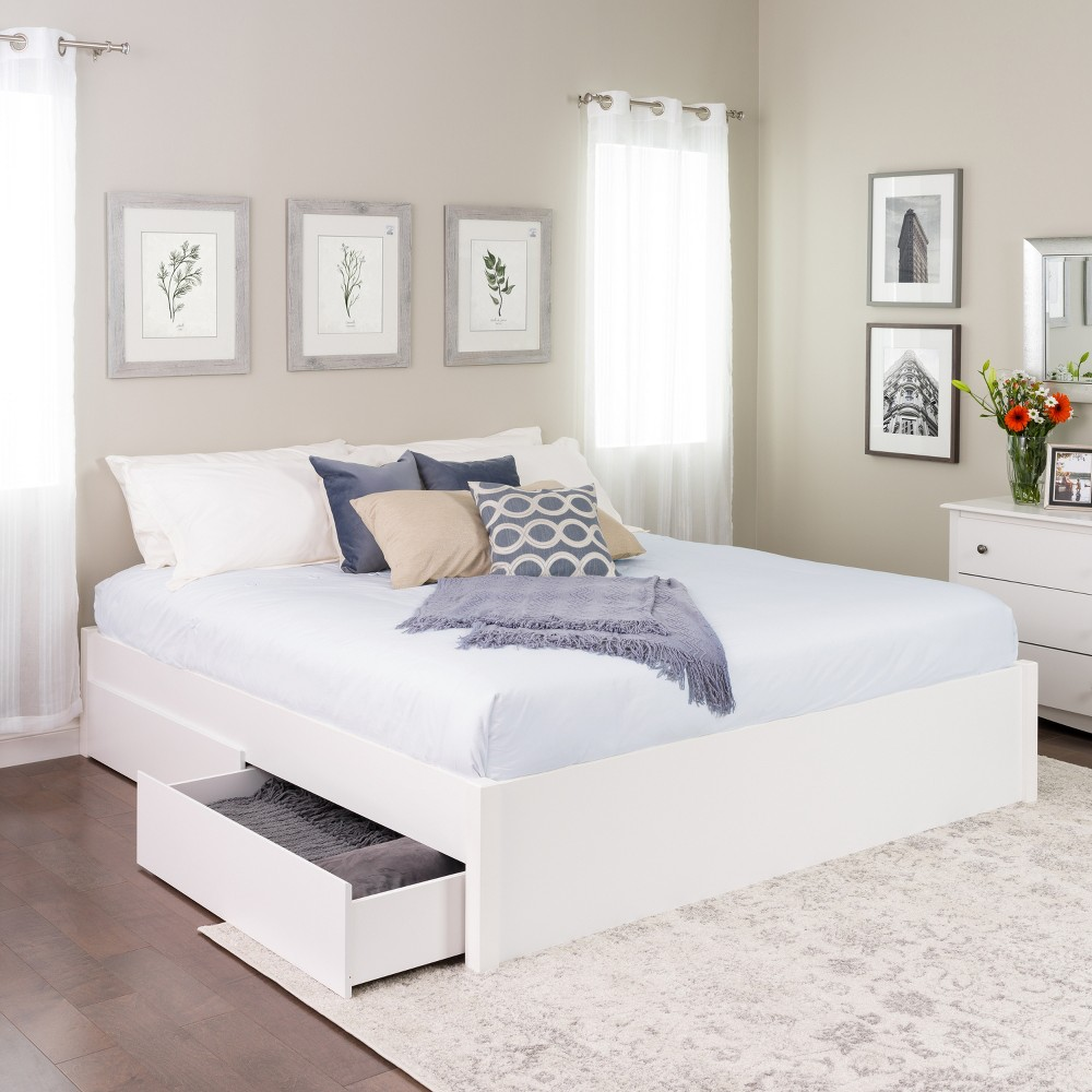 King Select 4 - Post Platform Bed with 2 Drawers White - Prepac