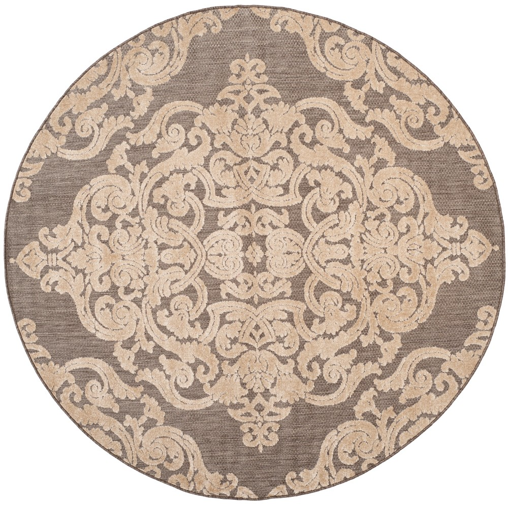 Taupe (Brown) Lace Loomed Round Area Rug 6'7 - Safavieh