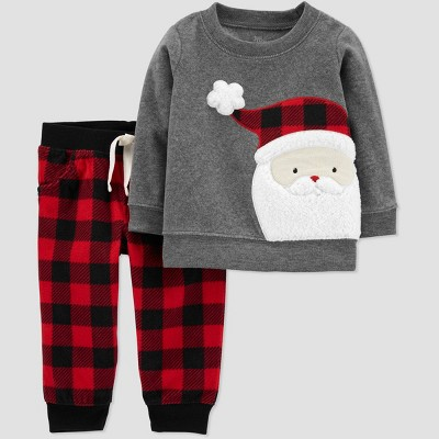 Baby Boys' 2pc Christmas Flannel Santa Top and Bottom Set - Just One You® made by carter's Red/Gray 3M