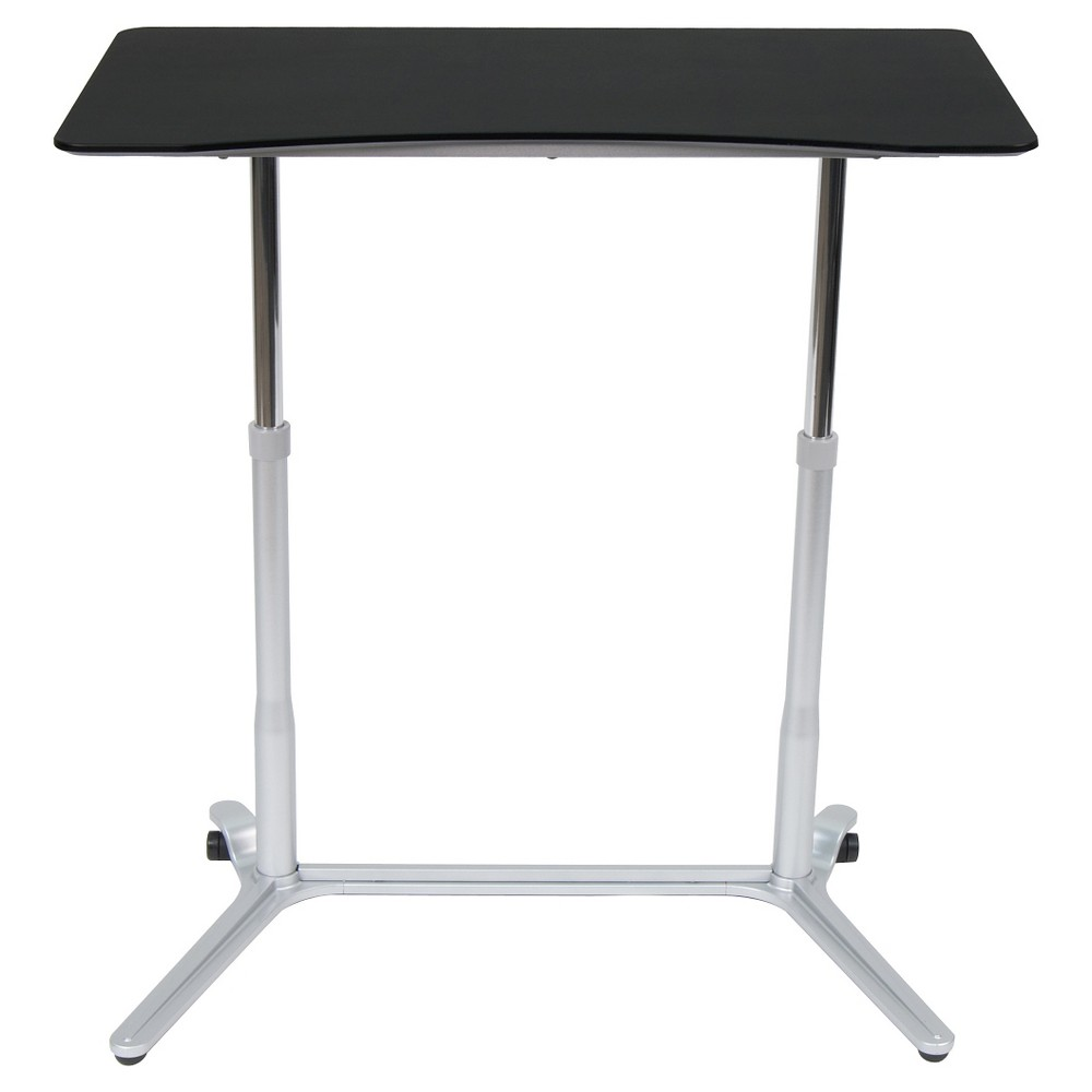 Sierra Adjustable Height Desk (Use While Sitting or Standing) -Silver / Black, Silver/Black