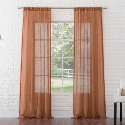Avril Crushed Textured Semi-Sheer Rod Pocket Curtain Panel - No. 918