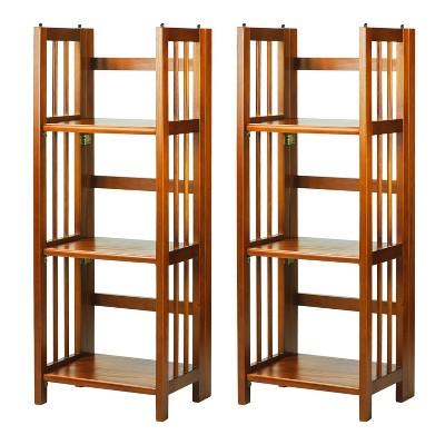 Casual Home 331-35 3 Shelf 14 Inch Folding Office Wood Decorative Furniture Bookcase, Honey Oak (2 Pack)