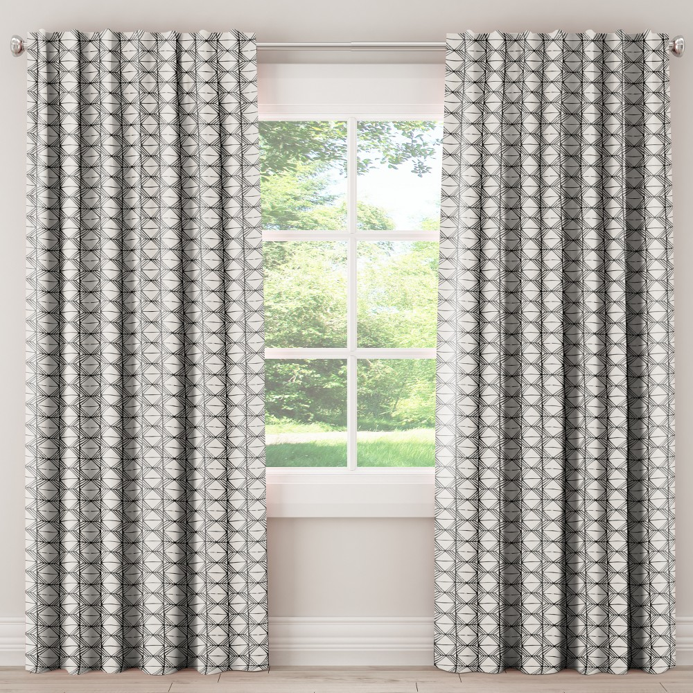 Unlined Curtains Block Print Cream 108L - Skyline Furniture