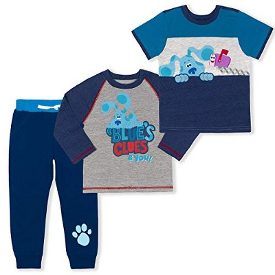 Nickelodeon Boy's 3-Pack Blue's Clues & You Long and Short Sleeve Graphic Tees and Jogger Pant Set for Toddlers