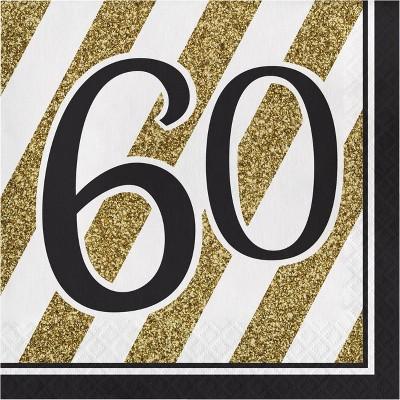 48ct 60th Birthday Napkins Black