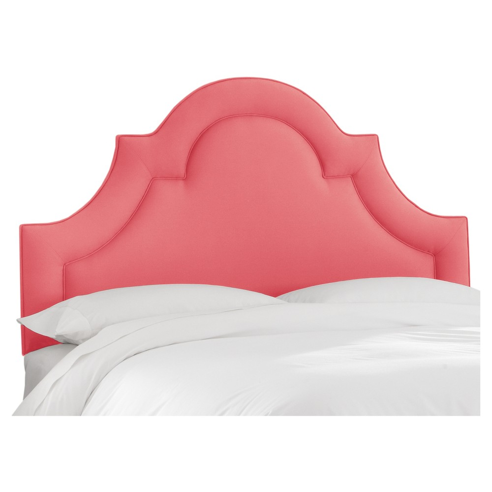Arched Border Headboard Linen Coral (Twin) - Skyline Furniture, Pink