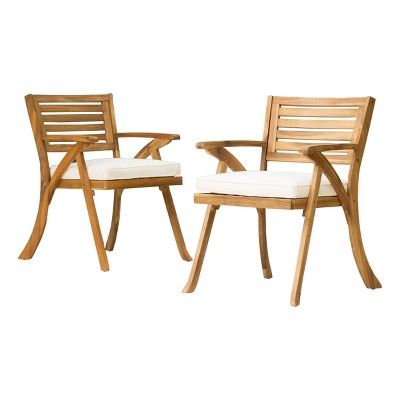 Hermosa 2pk Acacia Wood Arm Chair - Christopher Knight Home