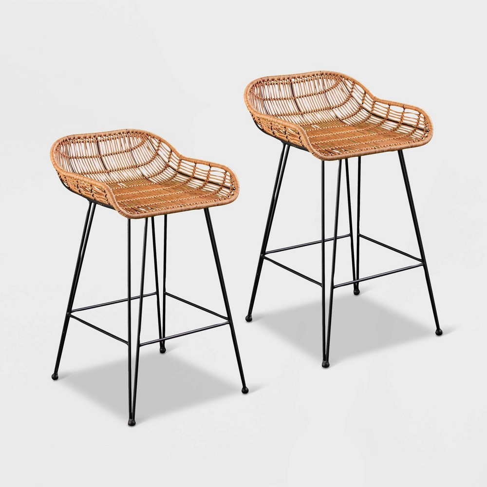Image of Lasherken 2pk All-Weather Patio Stools - Brown with Black - Aiden Lane